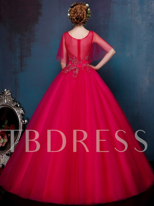 Round Neck Short Sleeve Ball Gown Beading Quinceanera Dress
