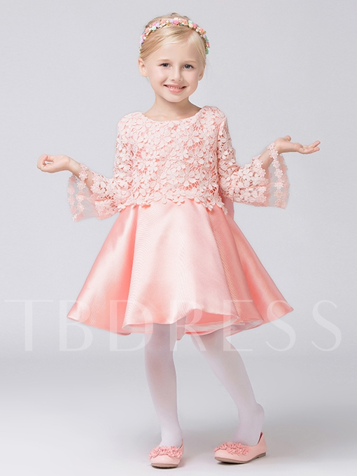 Trumpet Sleeve Lace Matte Satin Ball Gown Girl`s Party Dress