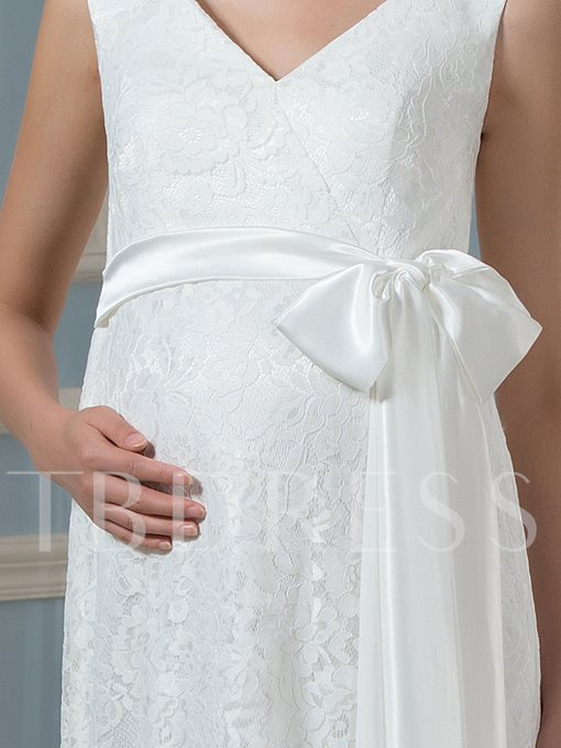 Empire Waist Ribbon Lace Maternity A-Line Wedding Dress
