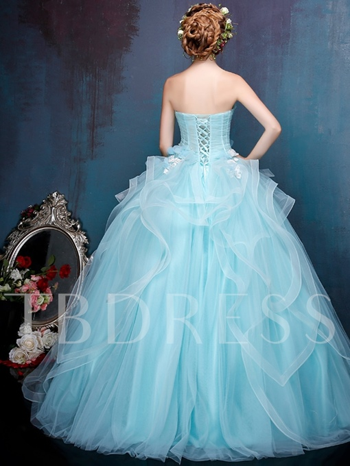 Strapless Ball Gown Flowers Pearls Ruched Quinceanera Dress