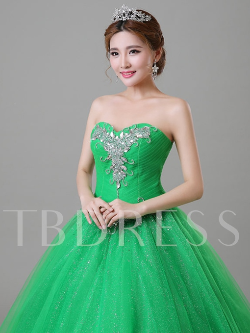 Sweetheart Beaded Lace-Up Floor-length Ball Gown