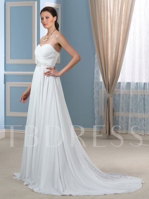 Beaded Pleated Chiffon A-Line Strapless Maternity Wedding Dress
