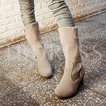 Short Floss Slip-On Round Toe Buckle Mid-Calf Women's Boots