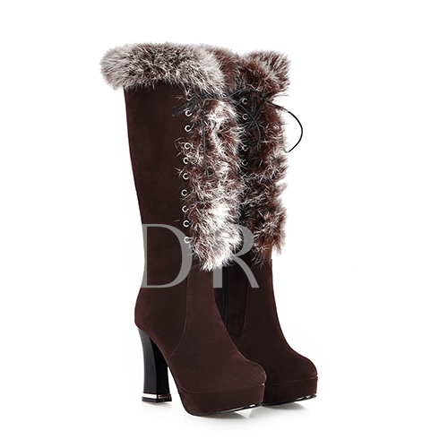 Chunky Heel Lace-Up Front Round Toe Short Floss Knee-High Women's Boots