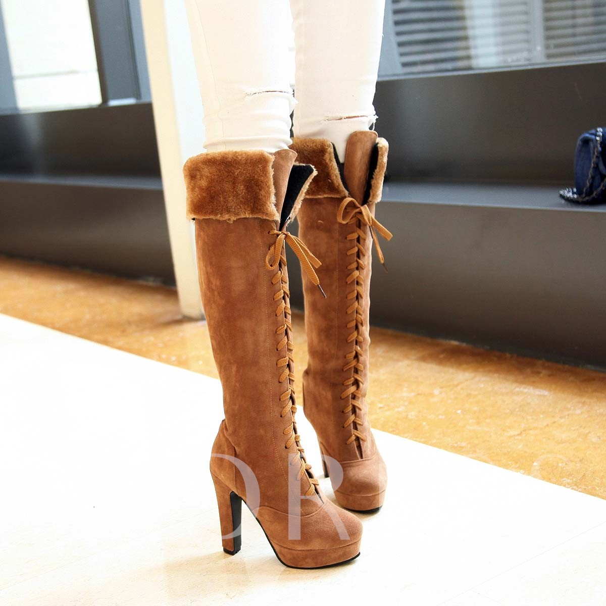 Lace-Up Front Round Toe Over-the-Knee Stiletto Heel Platform Women's Boots