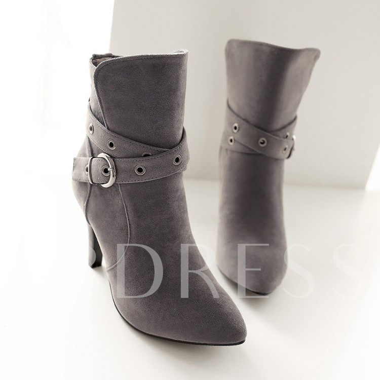 Pointed Toe Slip-On Stiletto Heel Ankle Women's Boots