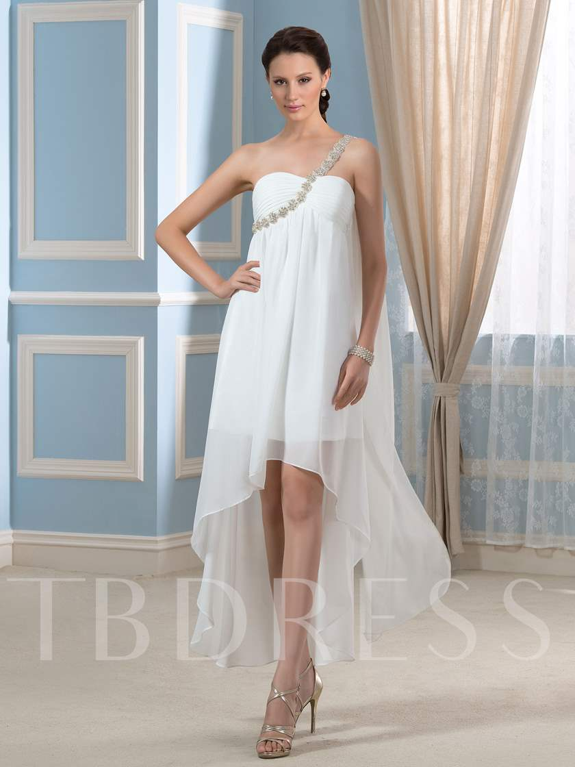 Asymmetry Hi-Lo Beaded One-Shoulder Short Beach Wedding