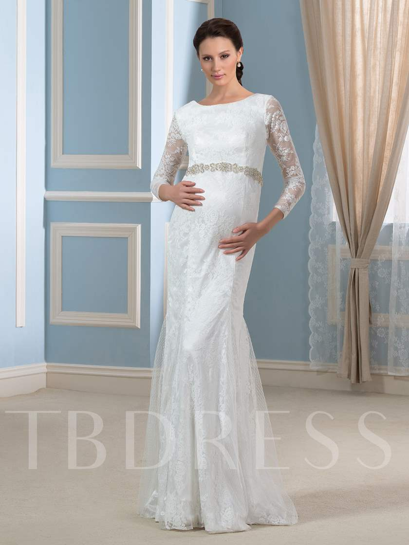34 Length Sleeve Lace TrumpetMermaid Pregnant Wedding Dress