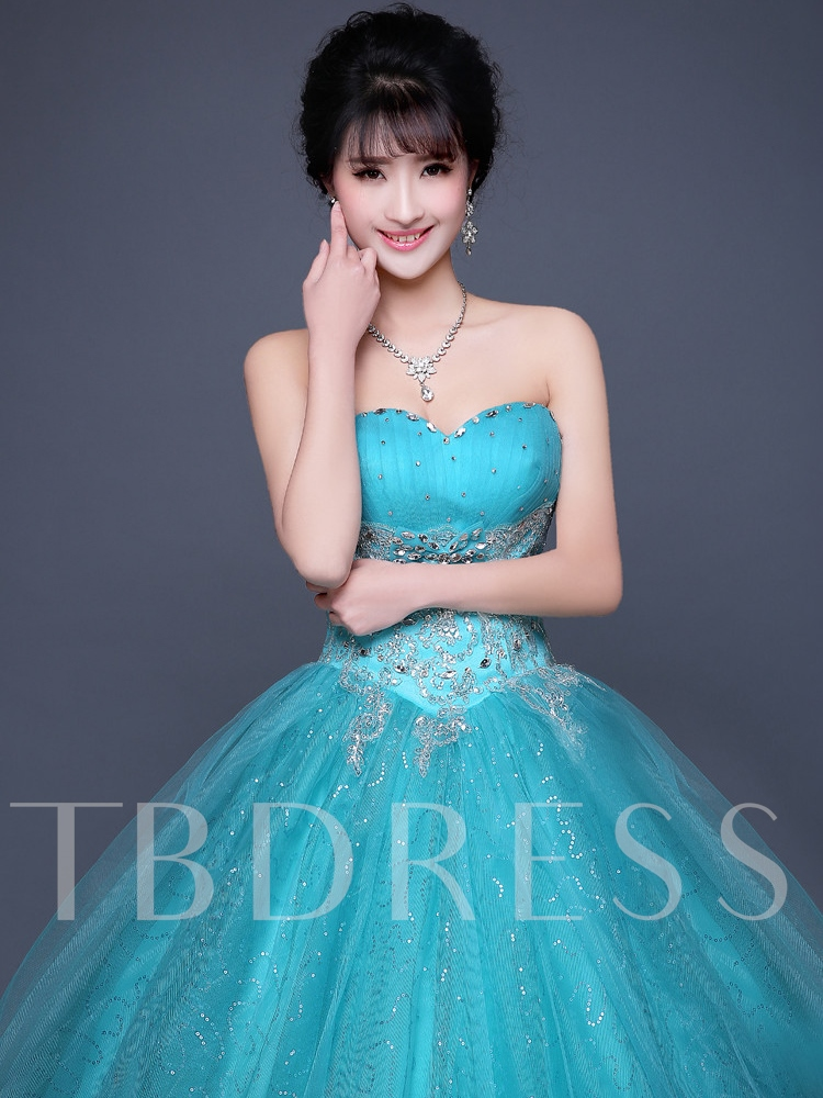 Appliques Sweetheart Ball Gown Beading Lace-Up Floor-Length Quinceanera Dress