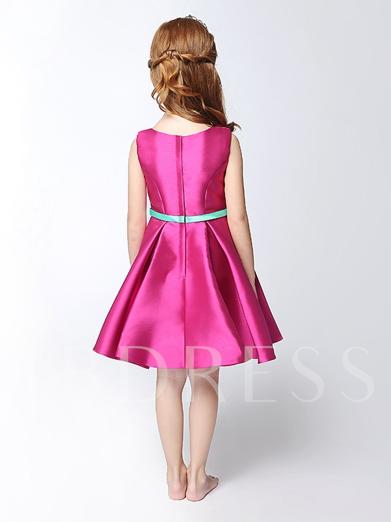Knee-Length Matte Satin Sashes Girls Party Dress