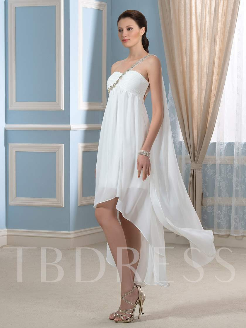 Asymmetry Hi-Lo Beaded One-Shoulder Short Beach Wedding Dress