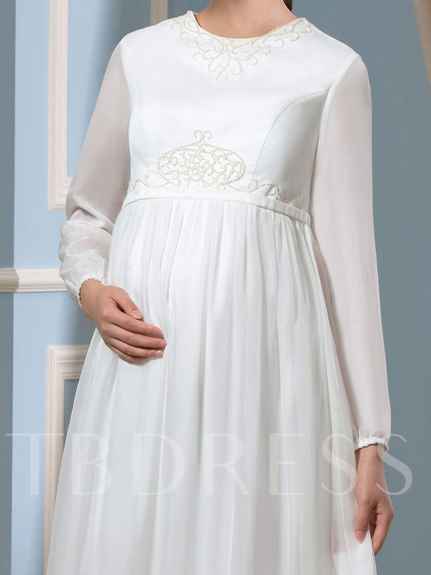 Long Sleeve Beaded Maternity Wedding Dress