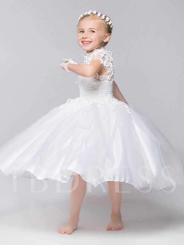 Ankle-Length Appliques Ball Gown Flower Girl Dress