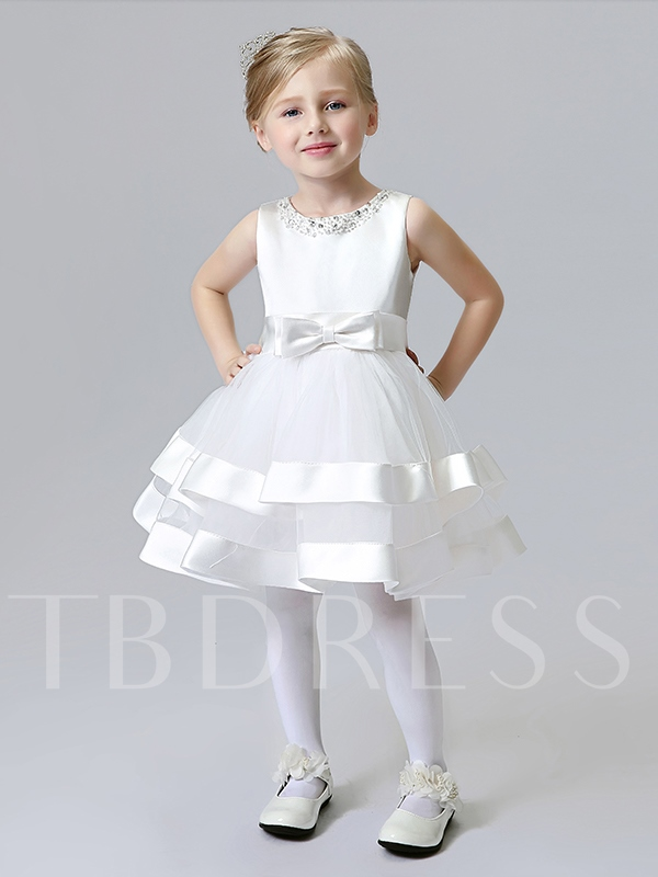 Scoop Neck Beading Knee-Length Bowknot Flower Girl Dress