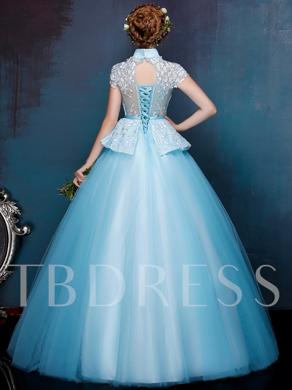 High Neck Lace Beading Quinceanera Dress