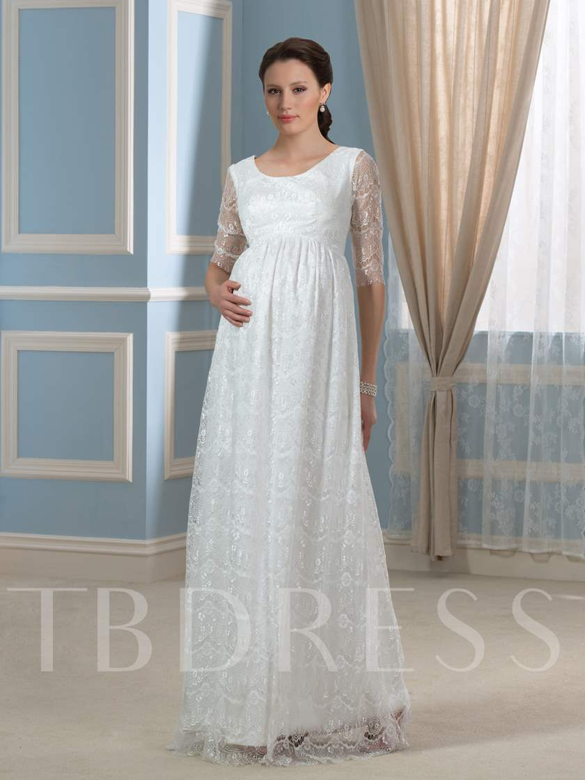 Pregnant Empire Waist Half Sleeves Lace Maternity Wedding Dress ...
