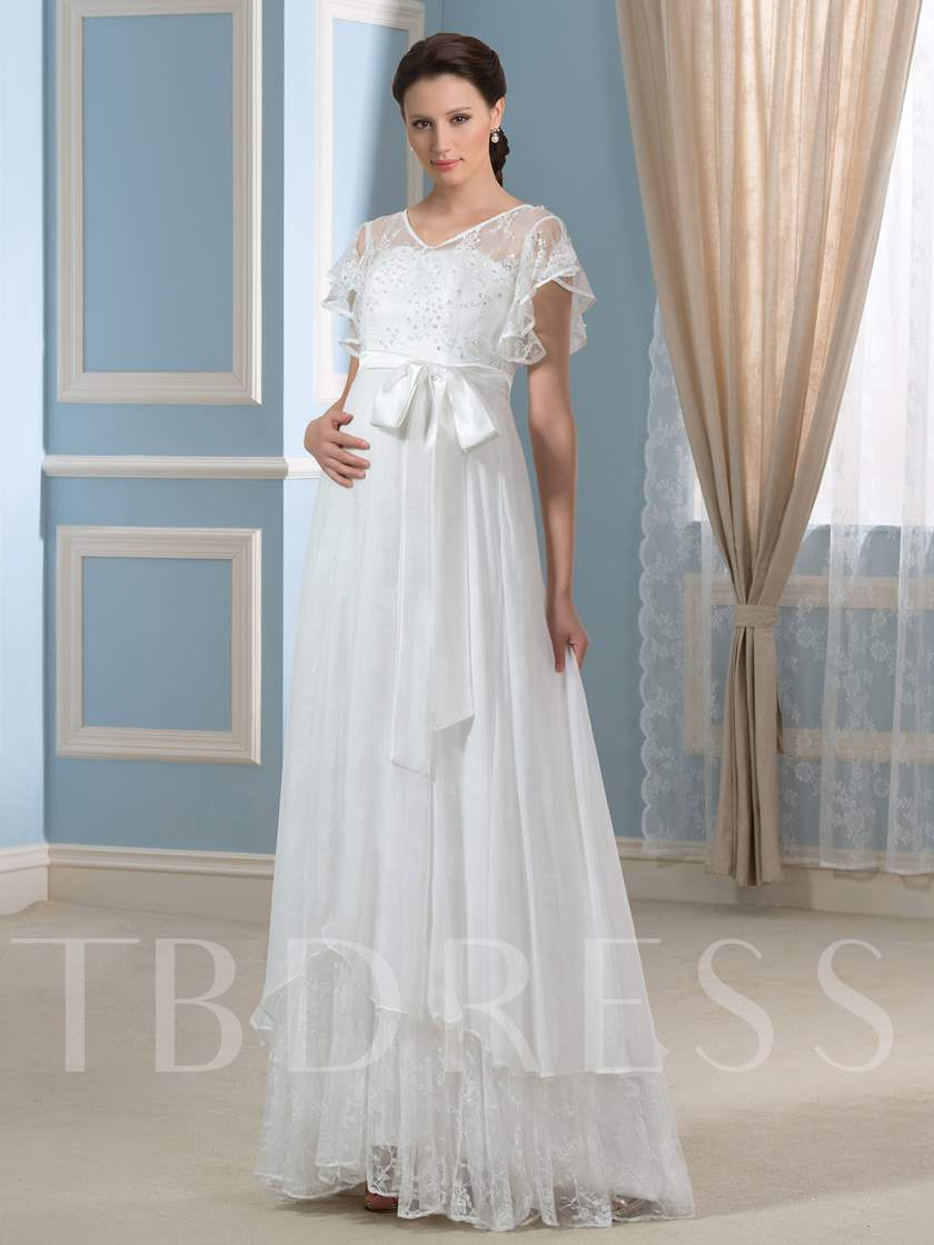 White/Ivory Beaded Lace V-Neck A-Line Chiffon Maternity Wedding ...