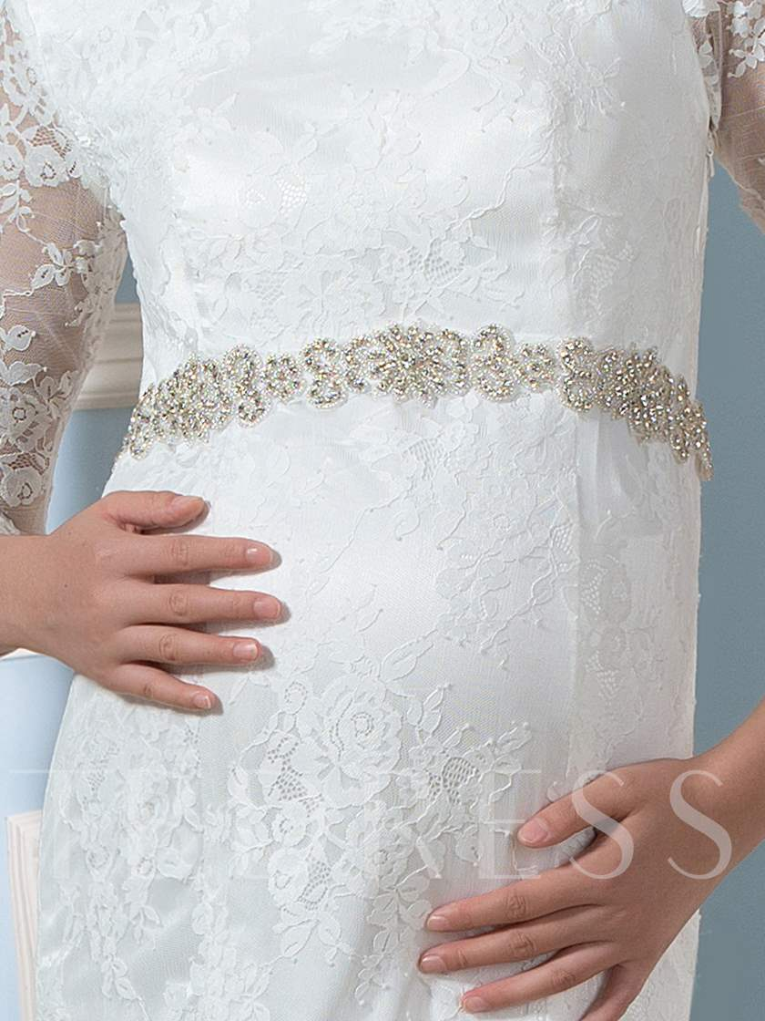 3/4 Length Sleeve Lace Trumpet Pregnant Wedding Dress