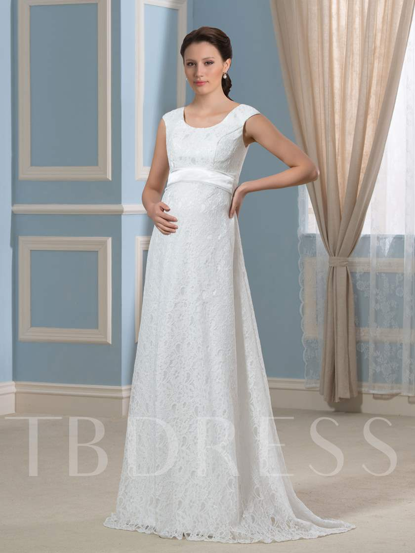 Pregnancy A-Line Lace Empire Waist Maternity Wedding Dress - Tbdress.com