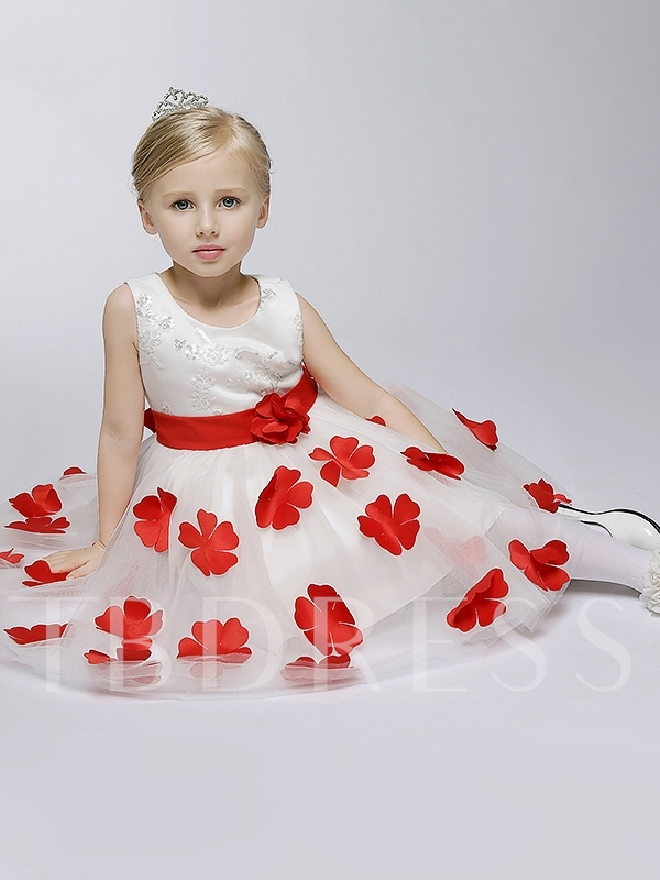 Scoop Neck Red Bowknot Ball Gown Flower Girl Dress