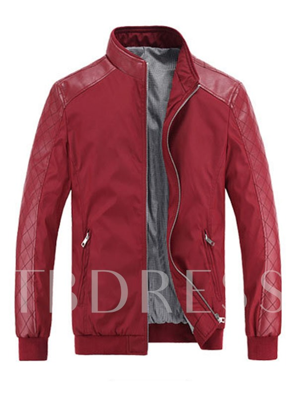 Plain Thin Patchwork Stand Collar Fall Men's Jacket