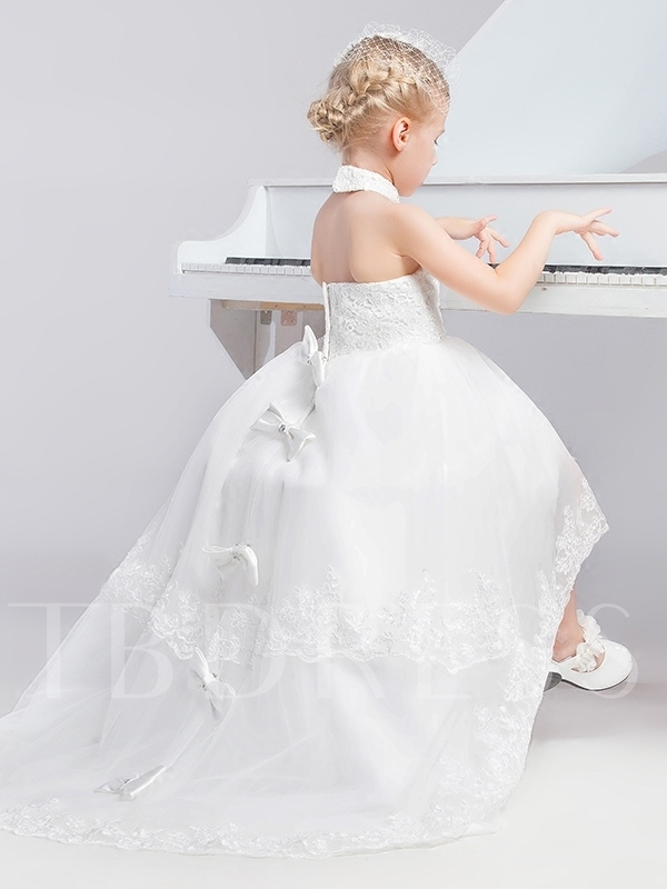 Halter Neck High-Low Appliques Bowknot Tulle Flower Girl Dress
