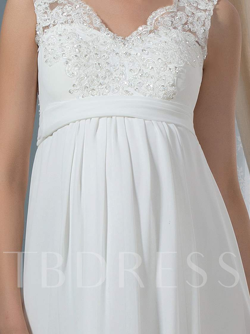 Empire Waist Beaded Appliques Maternity Wedding Dress