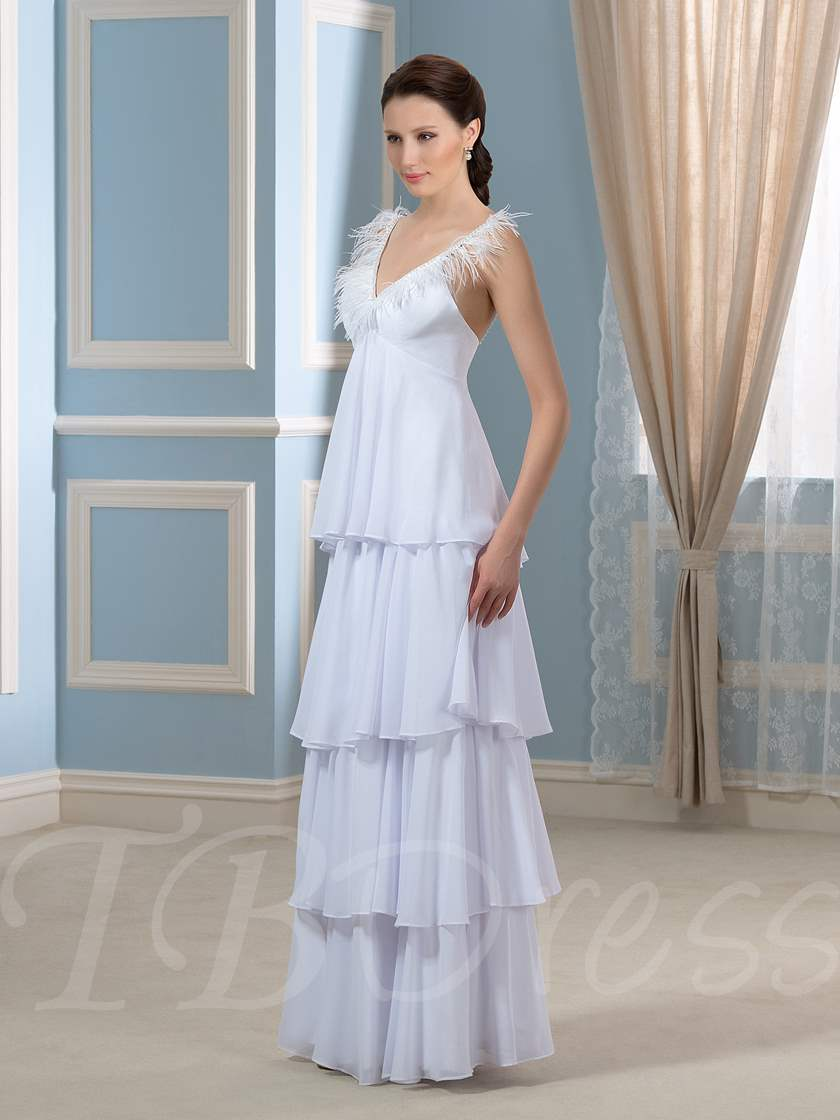 Backless Tiered Chiffon A-Line Pregnant Maternity Wedding Dress