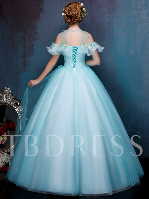 Scoop Appliques Beading Ruffles Quinceanera Dress
