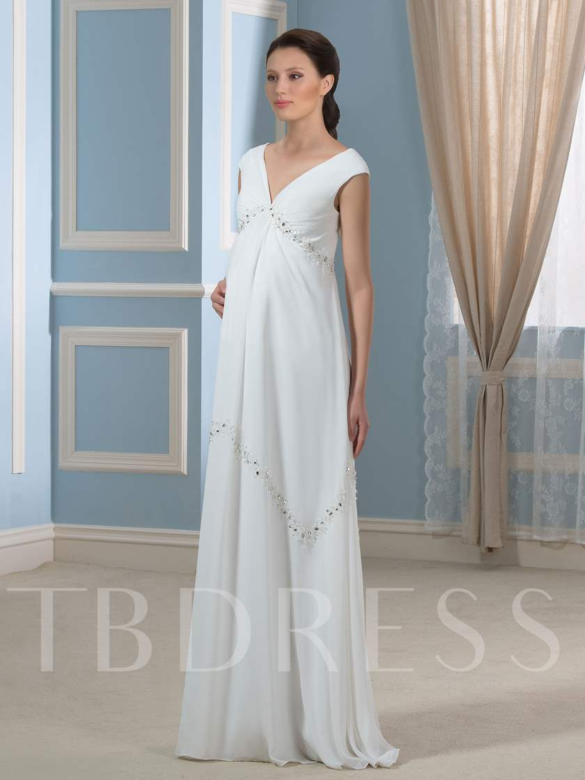 Empire Waist Beading Cap Sleeve Maternity Wedding Dress