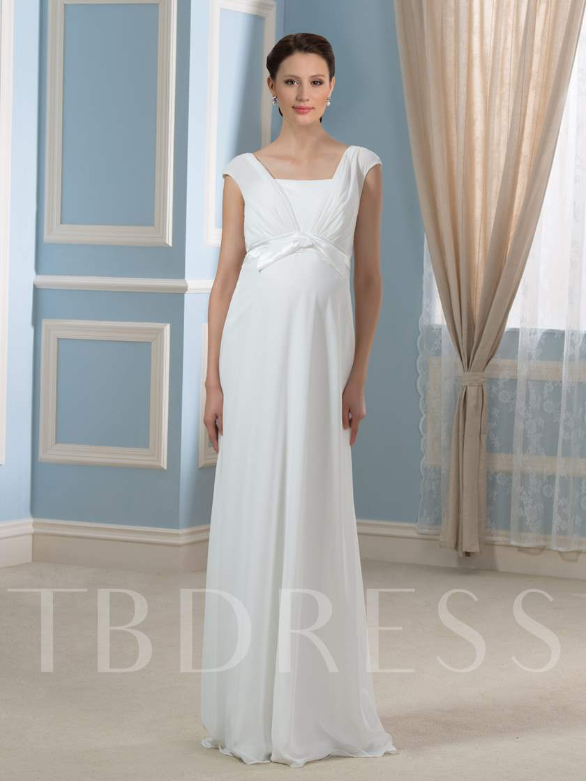Simple Pregnant A-Line Chiffon Empire Waist Maternity Wedding Dress ...