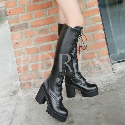 Square High Heel Lace-Up Front Round Toe Knee-High Women's Boots