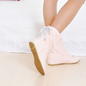 Short Floss Round Toe Lace-Up Back Ankle Women's Boots