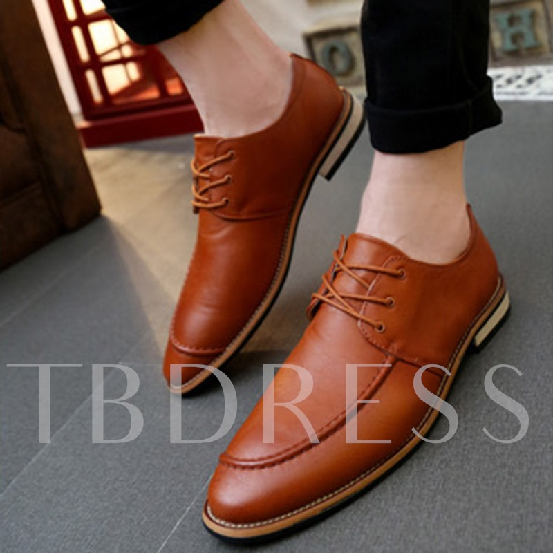 Pointed Toe Lace-Up Front Square Heel Low-Cut Upper Men's Oxfords
