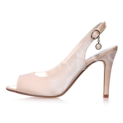 Peep Toe Plain Bead Stiletto Heel Slip-On Women's Wedding Shoes