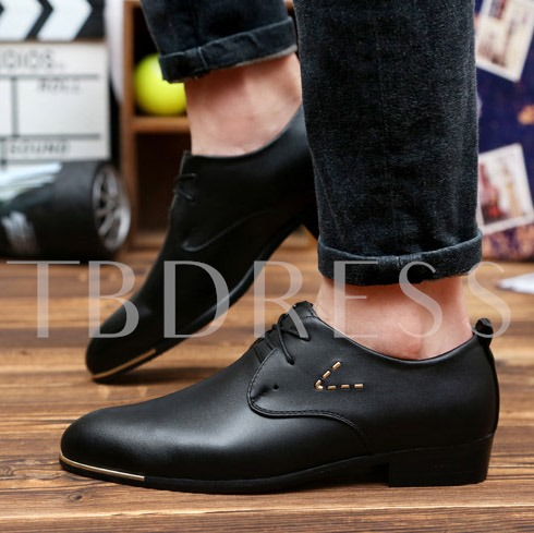 Square Heel Pointed Toe Lace-Up Front Sequins Men's Oxfords