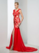 Deep V-Neck Appliques Side-Split Evening Dress