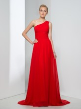 Ruched A-line One-shoulder Long Prom Dress