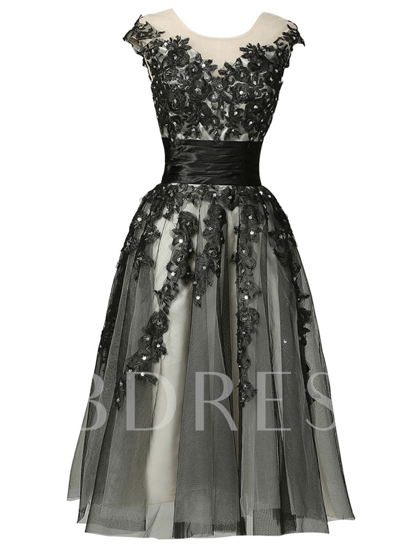 Image of A-Line Sleeveless Appliques Ribbon Cocktail Dress