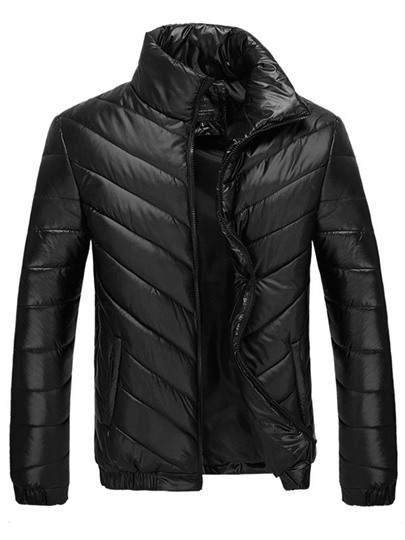 Solid Color Metallic Luster Men's Down Coat