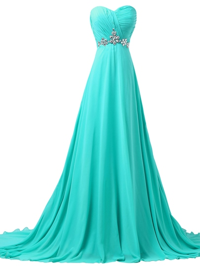 a-line sweetheart pleats beaded lace-up evening dres