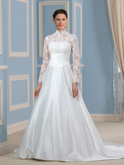 High Neck Long Sleeve Appliques Wedding Dress
