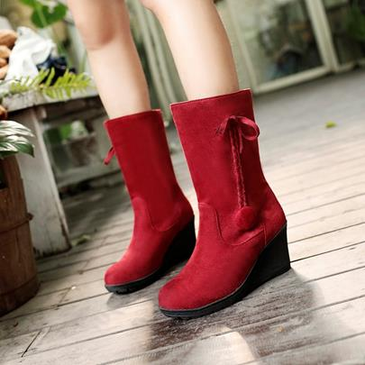 Slip-On Round Toe Wedge Heel Mid-Calf Women's Boots