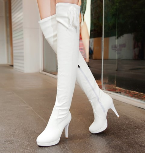 Side Zipper Stiletto Heel Platform Round Toe Over-the-Knee Women's Boots