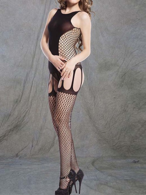 Plain See-Through Nylon Bodystocking