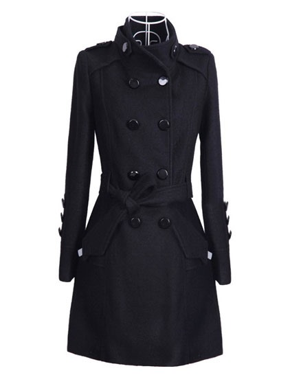 Fashion Solid Color Double-Breasted Women's Overcoat