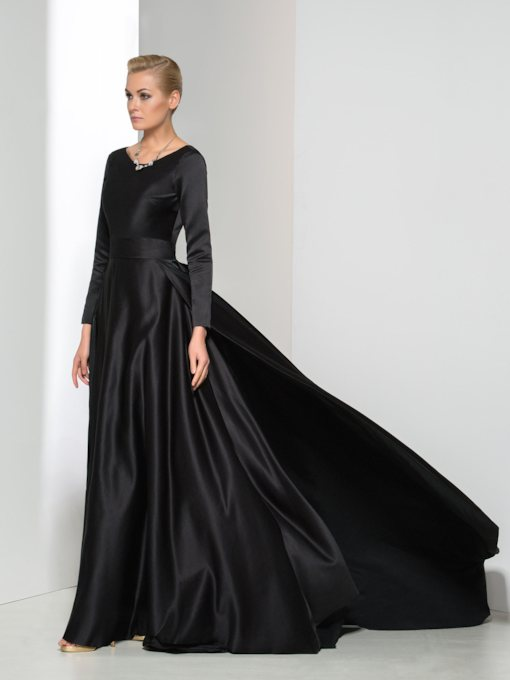 Backless Sashes Long Sleeve Evening Dress