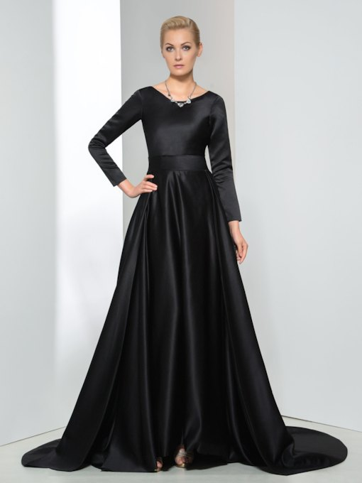 A-Line Long Sleeve V-Neck Bowknot Evening Dress