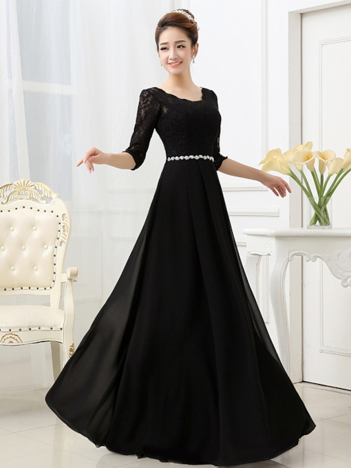 A-Line Half Sleeve Lace Beaded Evening Dress