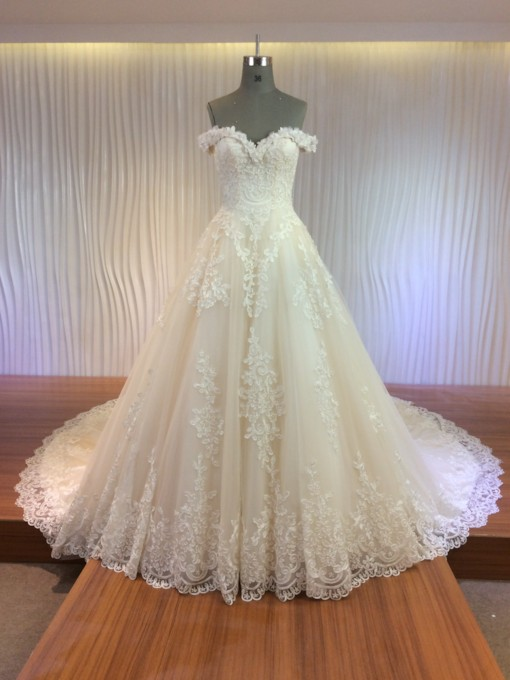 Cathedral Train Lace Appliques Off-The-Shoulder Wedding Dress